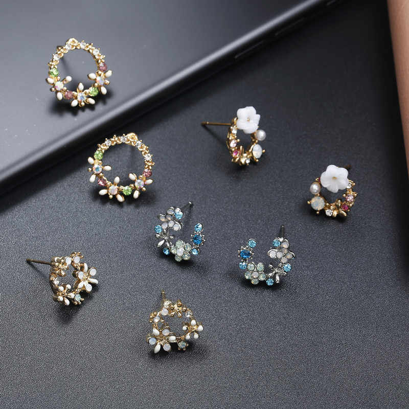 New Fashion Crystal Flower Stud Earrings For Women Whie Blue Color Round Earrings Gift For Birthday Party Jewelry EZ21