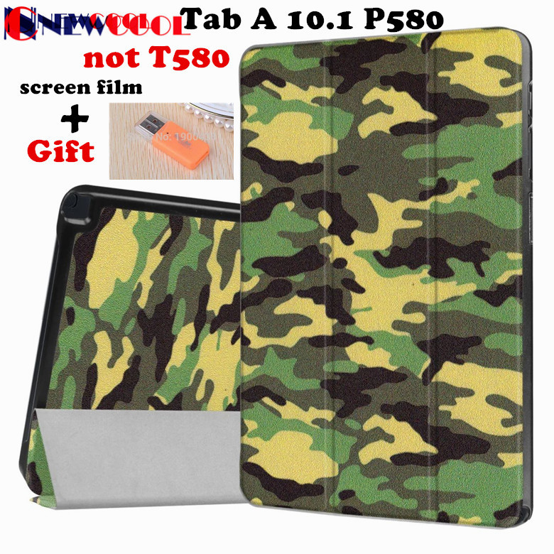 Flip Cover For Samsung Galaxy Tab A A6 10.1 P580 P585 Tablet Camouflage PU Leather Case Protective Shins Shell +screen Protector