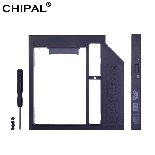 "CHIPAL Universal SATA 3,0 2nd HDD Caddy 12,7mm para 2,5 ""2 T Disco Duro unidad SSD carcasa para portátil CD-ROM DVD-ROM Optibay"