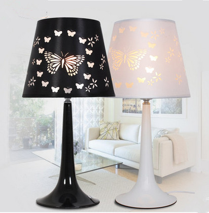 ФОТО Nordic fashion butterfly PVC cloth art table lamps American rural charming iron lights for bedroom&bedside&narrow table YS002