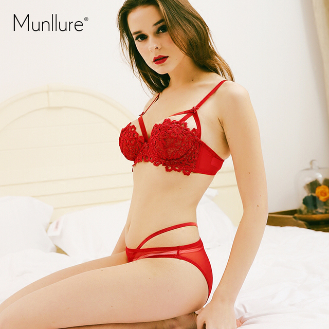 Munllure 2017 Spring Summer Push up Women Bra Set Underwear Women's Sexy Embroidery Thin Section Gather sexy Bra and Panty Sets