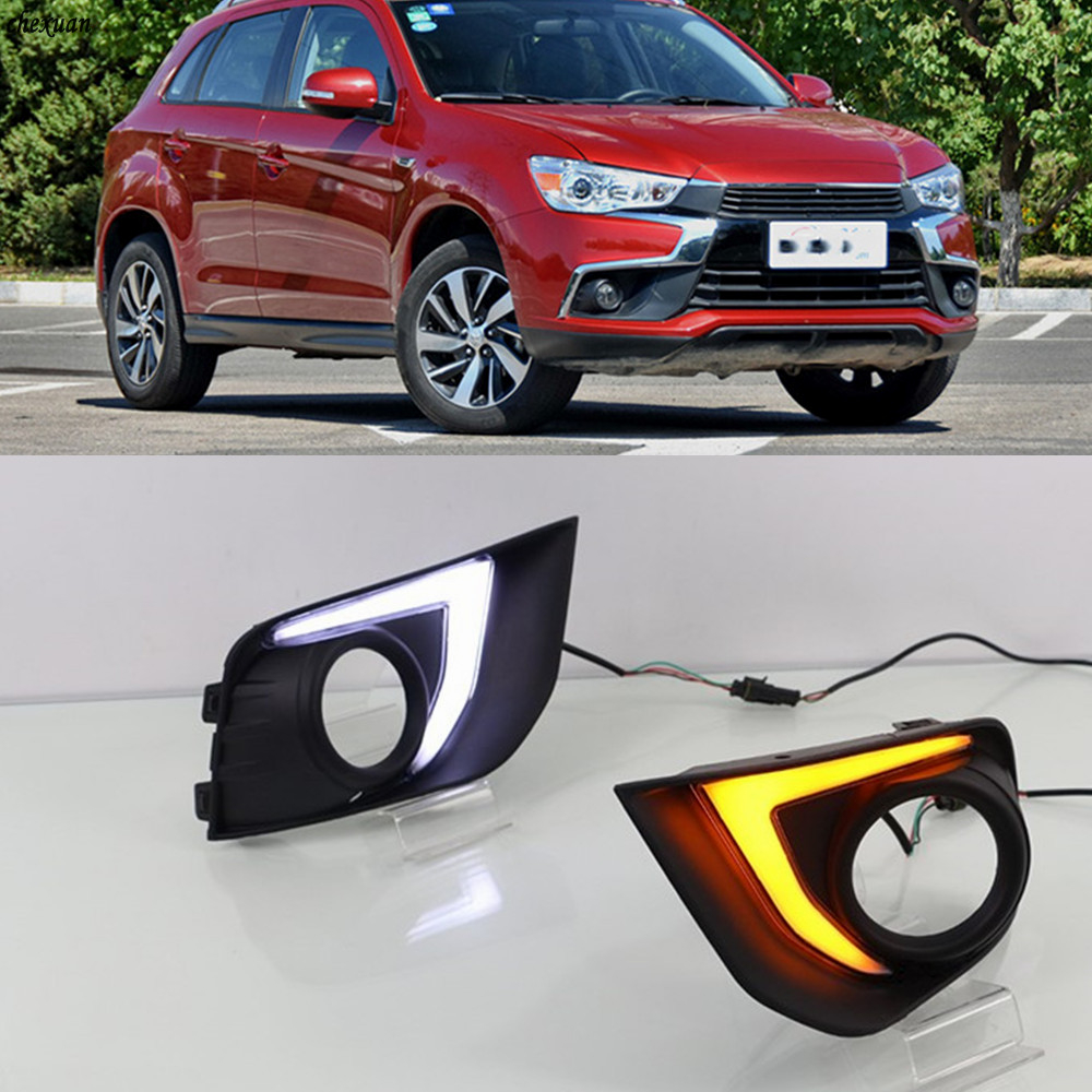 CSCSNL 1 set LED DRL Daytime driving Running Lights Daylight turn yellow signal Lamps For Mitsubishi