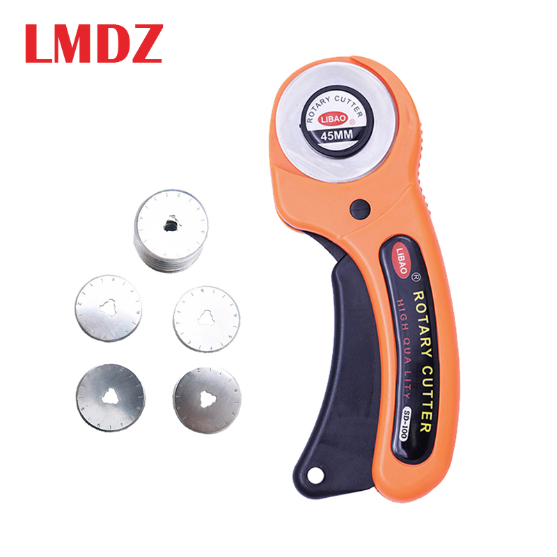 LMDZ 45mm Rotary Cutter Set With 5Blades Fabric Circular Quilting Cutting Patchwork Leather craft Sewing Quilter Cutting Tool