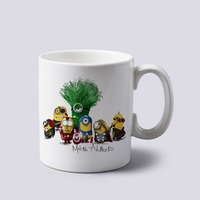Minions As Avengers Iron Man Hulk Thor Captain America Custom White Mug Coffee Mugs Novelty Birthday