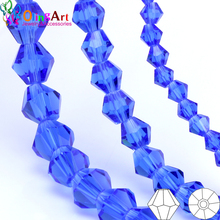 OlingArt 3mm/4mm/6mm/8mm Bicone Upscale Austrian Multicolored crystal Blue color beads Loose bead bracelet DIY Jewelry Making