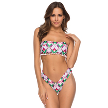 Sexy Pink Plaid Printed Bathing Suit Women Bandeau Strapless Tassel Swimming Suit For Girls Halter Thong Brazilian Shape Bikini