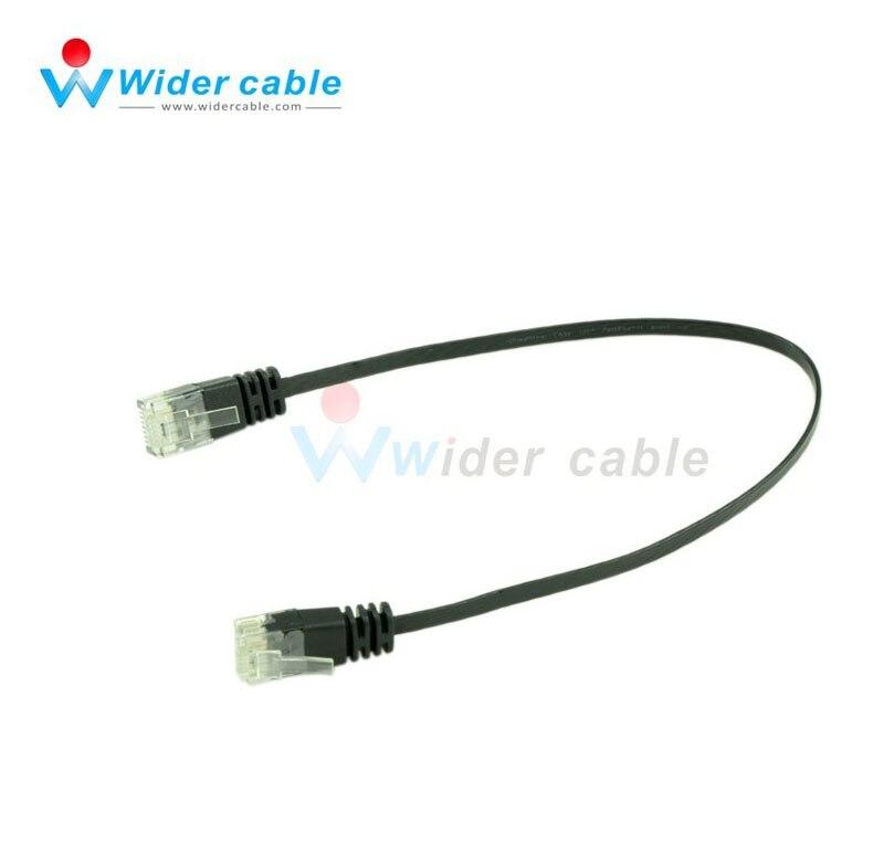 10 штук черный гладкий Ultra Flat Cat6 Lan патч-кабель RJ45 сетевой кабель 0.3 м короткий кабель Ethernet