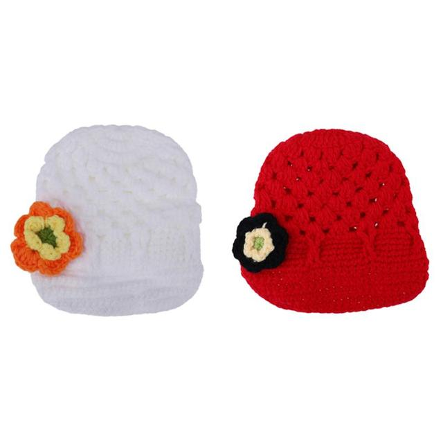 a26329c14d7 Newborn Handmade Baby Hat Knitted Flower Beanies Cap Winter Warm Crochet Infant  Baby Knitting Wool Cap Newborn Photography Props