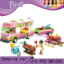 DIY Educational Toys for children girl camping car  Blocks self-locking bricks Compatible with Lego friends