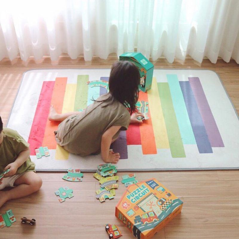 Arc-en-ciel bébé jouer jeu tapis Fiber synthétique Rectangle couverture tapis enfants bébé ramper Tatami tapis pour chambre 100x150 cm