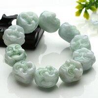 KYSZDL Véritable Myanmar fei cui pierre naturelle tête de Bouddha perles bracelet mâle et femelle modèles Rire Bouddha bracelet bijoux