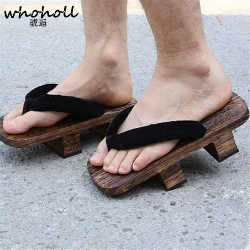 2017 Summer Man Flip-flops Teeth Male Japanese Geta Clogs Cosplay Costumes Wooden Slippers Sandals Couple Thick Clogs Shoes skipping rope