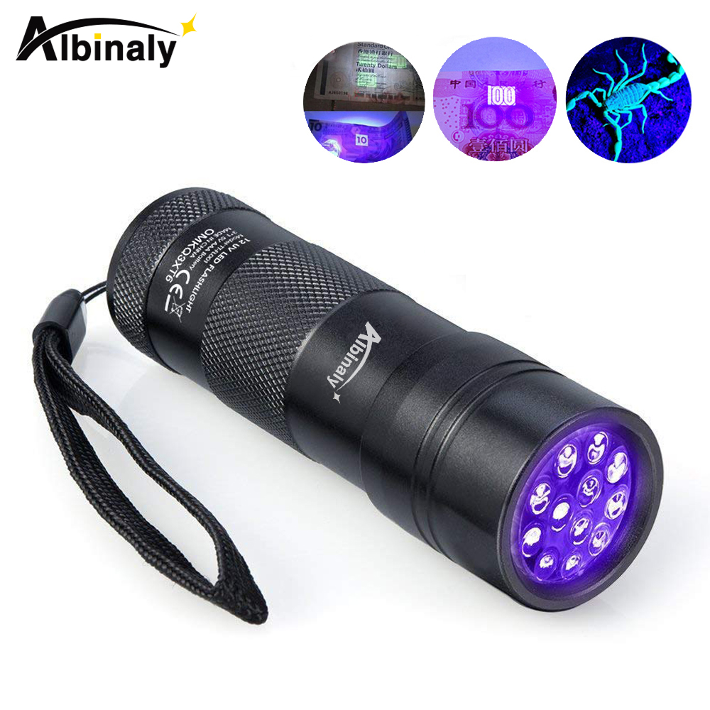 <font><b>UV</b></font> Flashlight 12 <font><b>LEDs</b></font> <font><b>395</b></font> <font><b>nm</b></font> <font><b>UV</b></font> Detector Light for Dog Cat Urine, Pet Stains, Bed Bugs, Scorpions, Machinery Leaks Inspection image