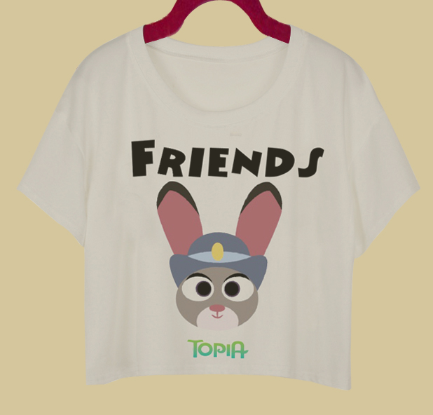 35b12228bb91e4 F1734 Cap Sleeve Women T-shirt Zootopia Best Friend Print Crop Top Fashion  Rabbit And Fox Cartoon Top White Sexy Shirt