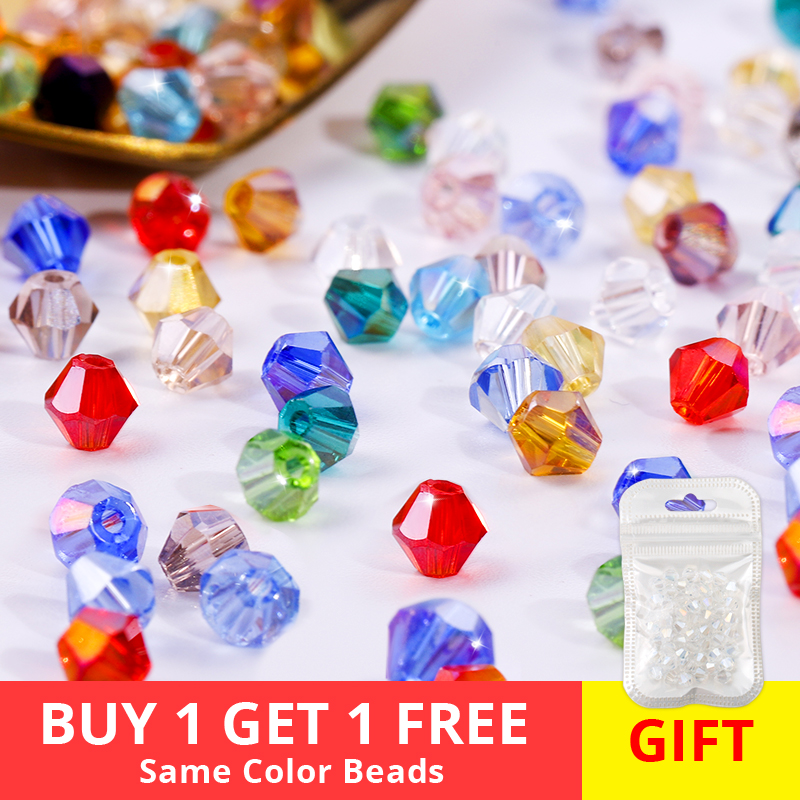 Buy 1 get 1 free total 200pcs 4mm crystal glass beads for jewelry making bracelet making accessories jewelry diy(China)