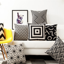 Square 18 White And Black Geometric Cushion Cover Decorative Cushion Covers Vintage Home Decor Pillow Cover Case For Sofa Home trendy black and white stripe v shape square sofa pillow case