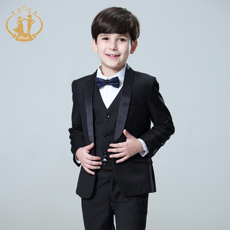 5pcs Set Boys Suits for Weddings Kids Prom Suits Black Wedding Suits Kids Blazers Boys Clothing