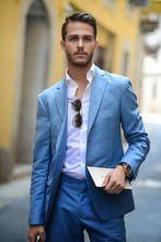 2017 Latest Coat Pant Designs Blue Linen Wedding font b Suits b font For font b