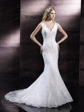 Free Shipping Romantic Mermaid V-Neck Sweep Train Keyhole Back Wedding Dress Turkey Istanbul With Appliques WX11610