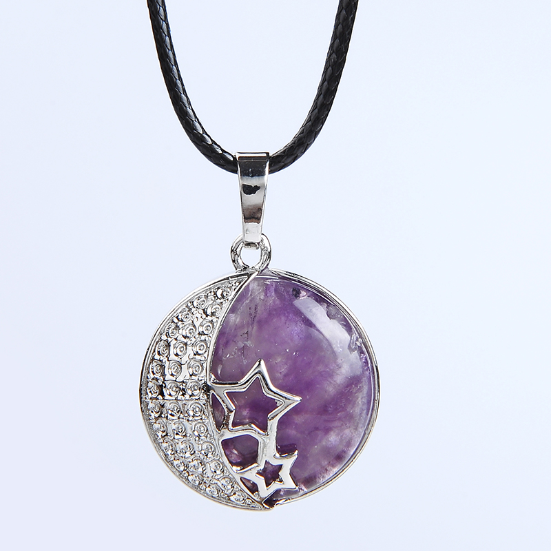 New Fashion Round Natural Stone Purple Rose Crystal Pendant Necklace Women Female Jewelry Hollow Moon Star Metal Necklaces Gift