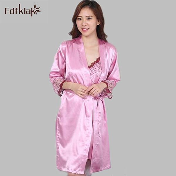 3dac1b6067 Women robe nightgown spring autumn silk robes sets 2017 new robe sexy 2  pieces set sleepwear