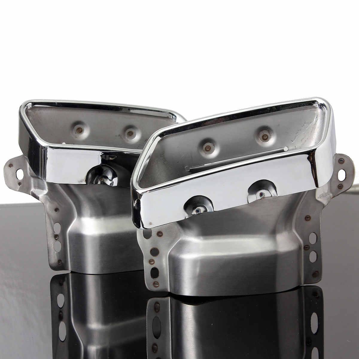 Пара квадратных Trail одно отверстие глушители выхлопной трубы хром для Mercedes Benz 2010 S300/350/600 GL350/400/450