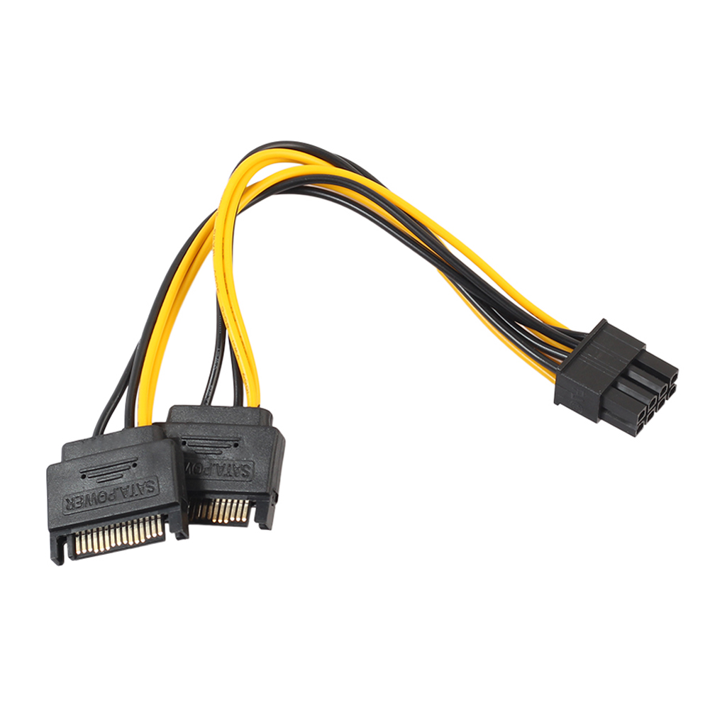 20cm 2 15Pin SATA Male To PCI-e 8Pin (6+2) Male Video Card Power Cable 8PIN To 15PIN Converter Cord Wire For Multi-graphics Card