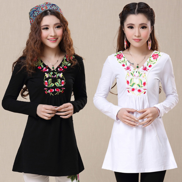 2017 Mexican Style Vintage 70s T Shirt For Women Autumn Winter Ethnic Long Sleeve V