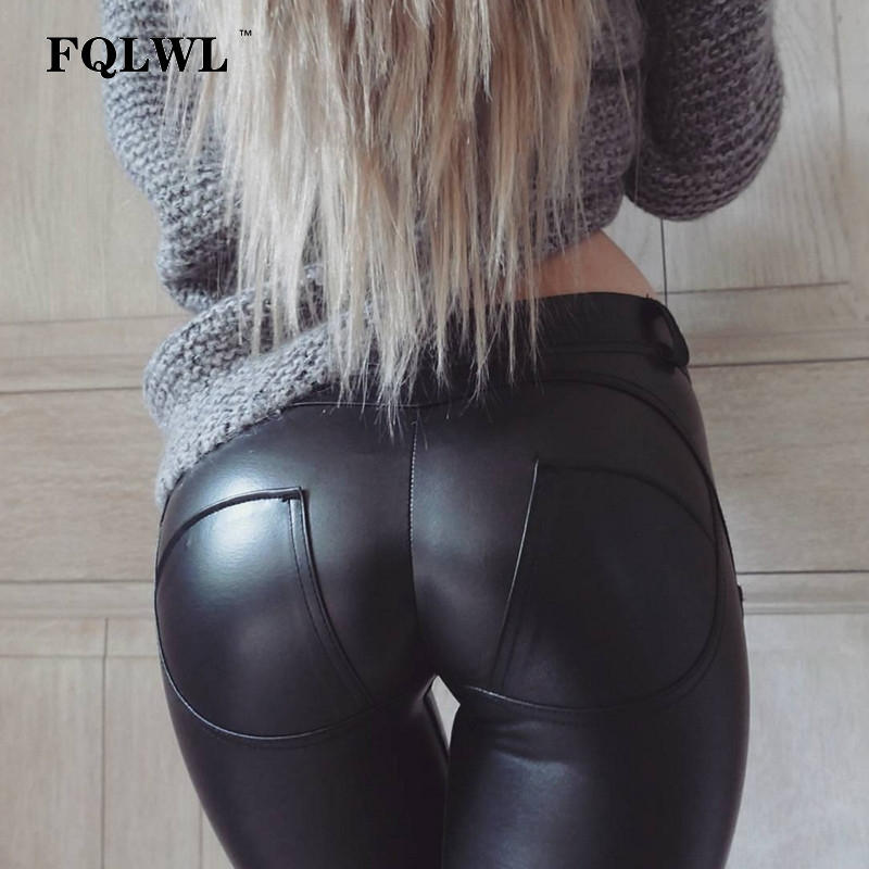 FQLWL Plus Sizes PU Leather Pants Women Elastic Waist Hip Push Up Black Sexy Female Leggings Jegging Casual Skinny Pencil Pants