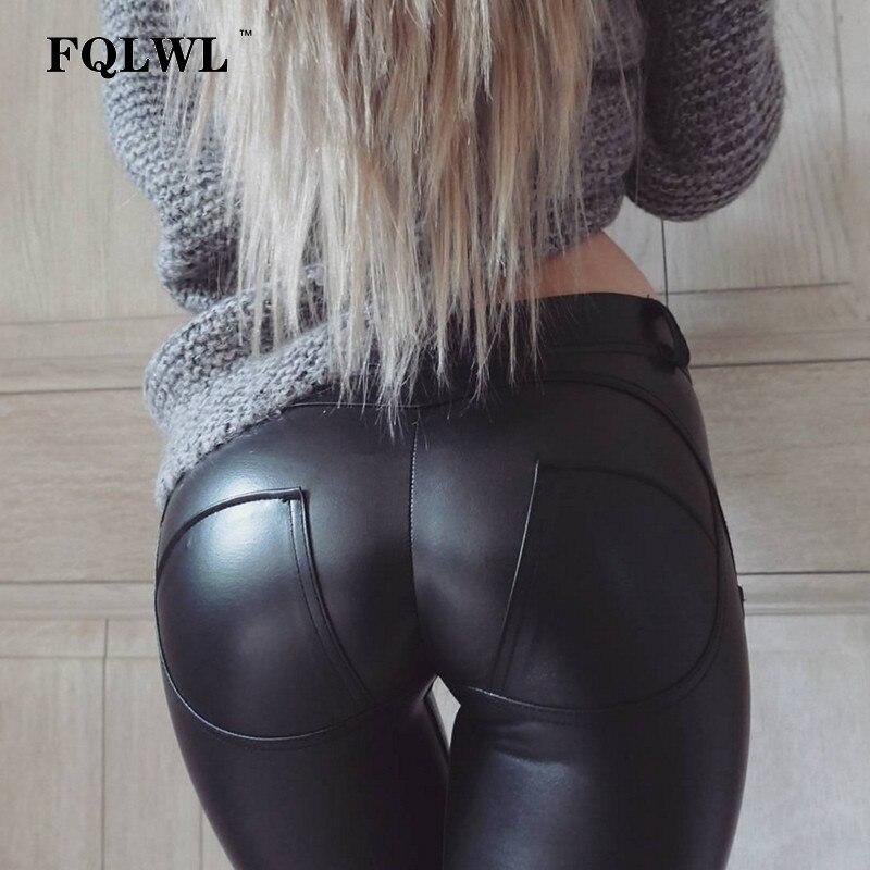 FQLWL Plus tamaños PU cuero pantalones mujeres elástico cintura Hip Push Up negro Sexy Leggings Jegging flacos ocasionales del lápiz pantalones