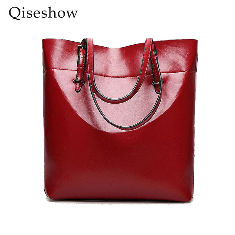 ФОТО High Quality Leather Women Bag Bucket Shoulder Bags Solid Big Handbag Large Capacity Top-handle Bags Herald Fashion New Arrivals