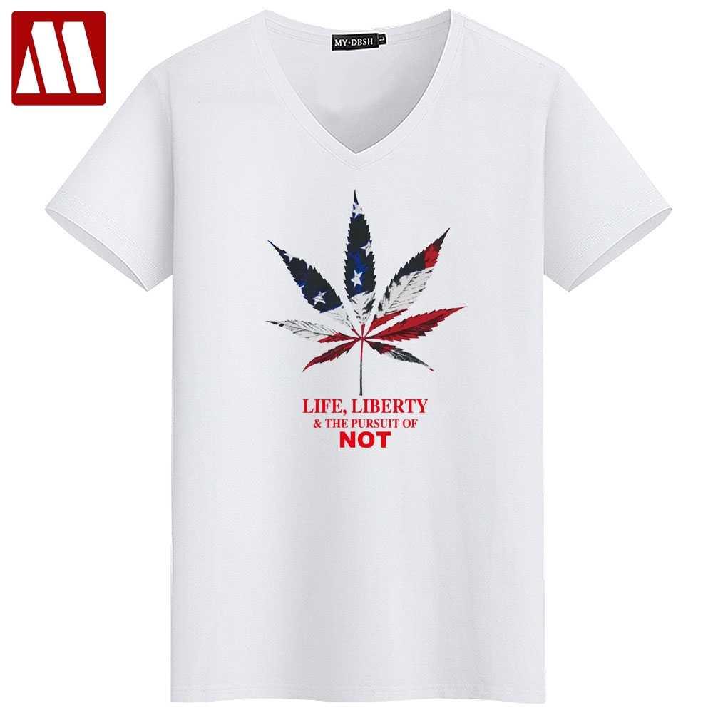 d8b5d25eb2a American Flag Leaves Printed T shirts Brand Mens Clothes Fashion LIFE  LIBERTY Man Tops Tees Men