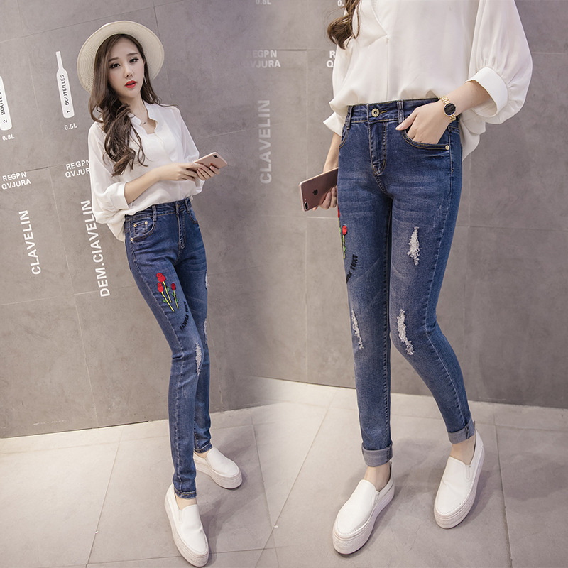 2017 fashion spring new korean embroidered bound feet - Jeans trend 2017 ...