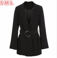 2018 Spring New Suit jacket Women Long Sleeve Formal Slim Ladies Blazers Office Long Coat With Belt Black blaser feminino