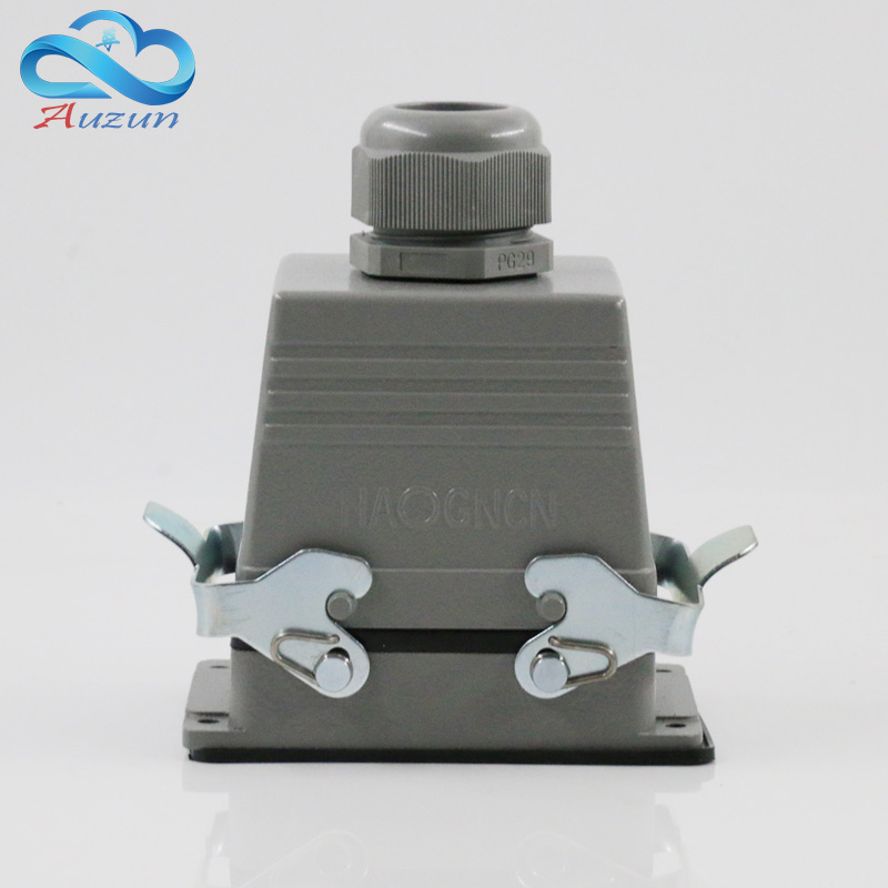 Rectangular H32B - HE - 032-1 heavy air 32 pin connector plug at the top of the line 16 a500v two retaining screw heavy duty connectors hdc he 024 1 f m 24pin industrial rectangular aviation connector plug 16a 500v