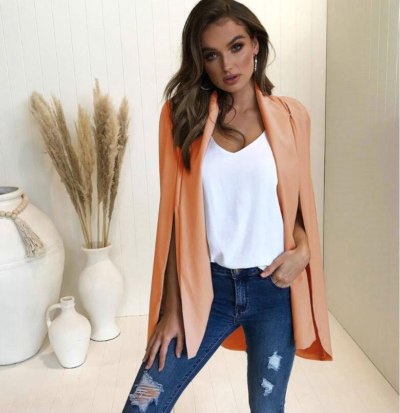 2018 Elegant Blazer Women Outwear Work Office Lady Suit Slim Autumn Split Sleeve Jacket Coat Black Streetwear Shawl Design