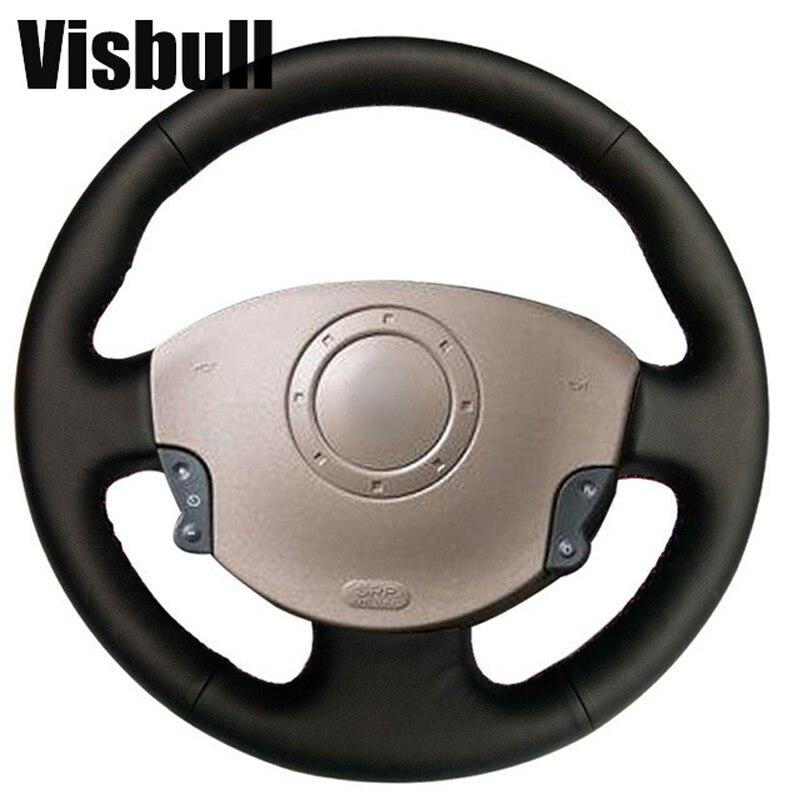 Visbull PU Leather Car Steering Wheel Cover V1020 for Renault Megane 2 2003-2008 Kangoo 2008 Scenic 2 2003-2009