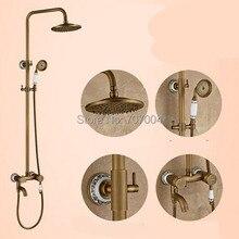 Conjunto de Ducha de Lluvia de Latón antiguo Sola Manija Baño Grifo de la Bañera Ducha Mezclador Grifo con Ducha De Mano