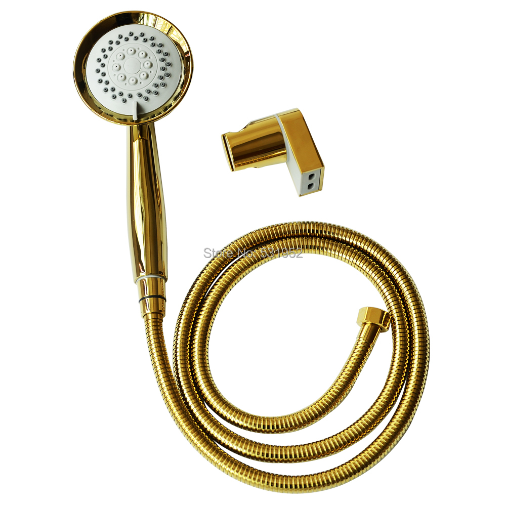 3 Function High Quality Gold Plated Hand Held Shower Head Hose and Bracket Holder Antique Gold Sprayer Multifunction Function