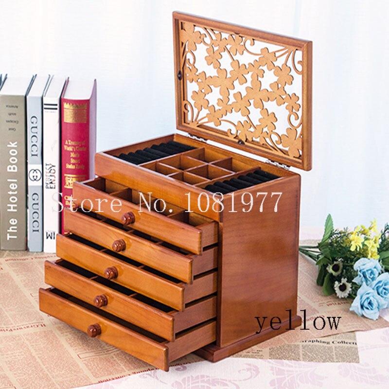 Grand 6 planchers Bois Boîte à Bijoux affichage de bijoux cercueil/boucles d'oreilles anneau boîte/bijoux organisateur/cas pour bijoux cadeau boîte