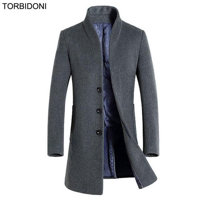 2017 Novos Homens de Lã Casacos de Médio Longo Jaquetas Casacos de Outono & Winter Fashion Marca Mens Quente Casaco de Lã Gola 3XL