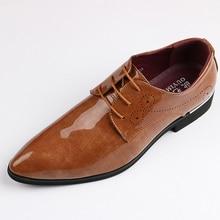 Мужские оксфорды из лакированной кожи; мужские глянцевое платье; деловая обувь; мужские оксфорды; кожаные свадебные туфли; Zapatos De Hombre; большие размеры