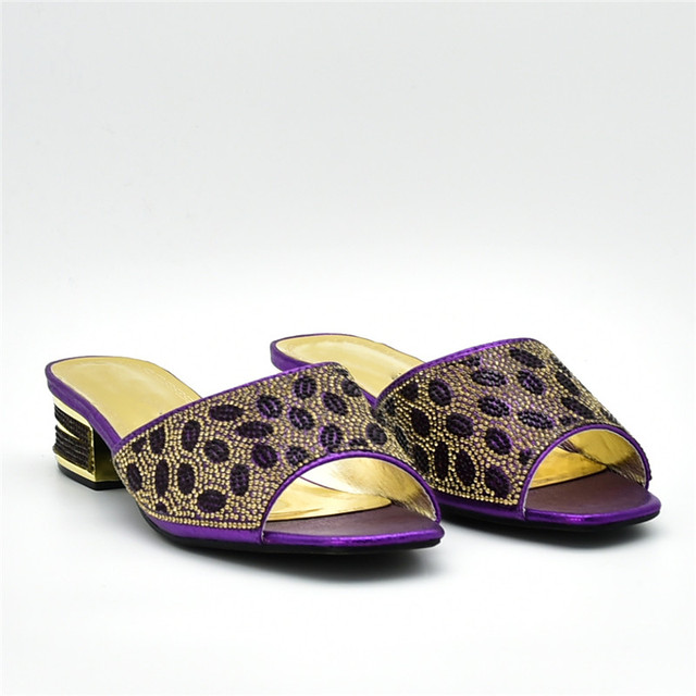 Italian Ladies Shoe and Bag To Match Set Decorated with Rhinestone Shoes and Bag Set African Sets 2018 Ladies Sandals with Heels