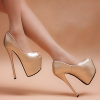New Shoes Gold Silver Heels 16cm Heels Nightclub Fine With High Heeled Shoes Waterproof Shoes Shallow