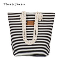 Stripe Canvas Tote Bag with Rope Handles