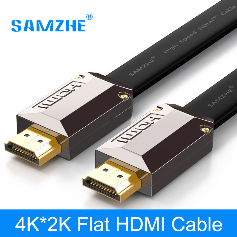 SAMZHE Flat 4K*2K HDMI Cable Resolution 3840*2160/60hz Version 2. 0 for Laptop Xbox to Projector TV Screen and Big Screen chord company hdmi v2 active resolution 2 0m
