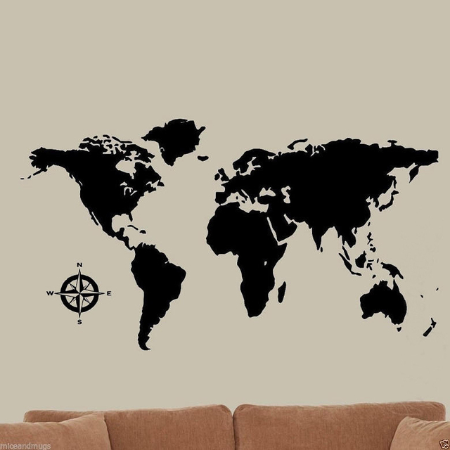 Global world map vinyl wall art home decor black wall stickers wall global world map vinyl wall art home decor black wall stickers wall decals wallpaper for living gumiabroncs Choice Image