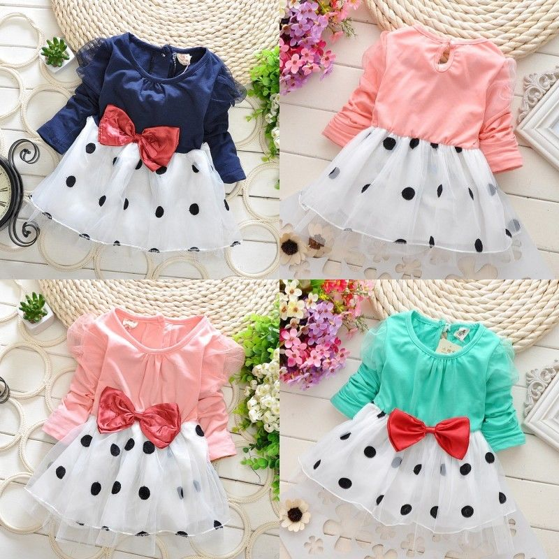 Baby Toddler Girls Dresses Cute Princess Party Long sleeve Bowknot Dot Tulle Dress Children Clothing Girl Costume 6M-5Y 2017 fashion princess girls dress long sleeve cartoon baby girl cotton party dresses for kids children clothing winter toddler