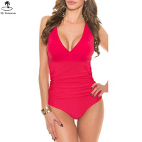 Women Waist Slimming Monokini V Neck One Piece Swimsuit Maillot De Bain Backless Bathing Suit For