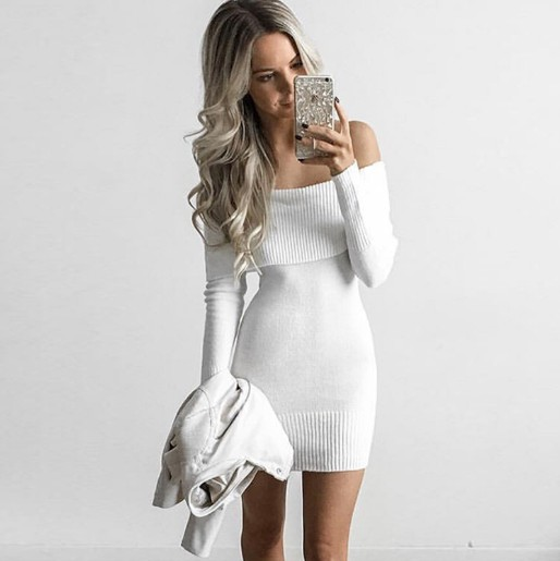 7c0f31c0001 2018 Winter off shoulder knitted bodycon dress Women long sleeve autumn  sexy dress 2016 party short white dresses vestidos L175